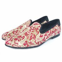Men's Red Printed Loafers Shoes Evening Slippers Flats Slip on Casual Shoes New