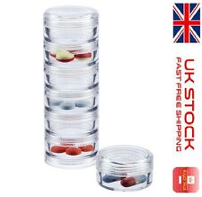 NEW 7 Day Stackable Container Weekly Medicine Tablet Pill Box Holder Organizer