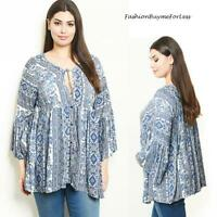 PLUS Gypsy Bohemian Silky Blue Bell Sleeve Babydoll Peasant Tunic Top 1X 2X 3X