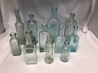 Lot of 12 Old Vintage Antique Light Blue Glass Bottles Wedding Table Centerpiece
