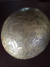 Very Large and Heavy and Ornate Hammered Brass Over Wood Sculpture