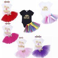 Newborn Baby Girls Birthday Clothes MY 1st BIRTHDAY Romper Tutu Outfits 3PCS