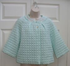 Barbizon Women's Medium Vintage Bed Jacket Turquoise Blue Quilted New Condition