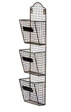 Industrial Vintage Shabby Chic Iron Basket Metal Wall Storage 3 Shelves NEW