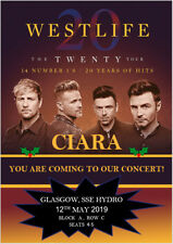 Westlife The Twenty Tour 2019 Concert Tickets Ticket Card Birthday Christmas A5