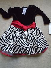 BONNIE JEAN GIRLS SIZE 4- BLACK & WHITE ZEBRA PRINT, A FRAME DRESS - NWT
