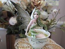 Amy Brown Green Tea Faery Fairy Figurine in a Tea Cup New In Box