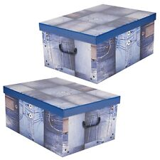 2x Collapsible Storage Boxes Handles Underbed Cardboard Lightweight Jeans Style