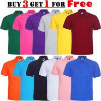 Mens Polo Shirts Plain Golf Sports Cotton T Shirt Jersey Casual New Short Sleeve