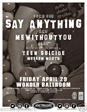 SAY ANYTHING / MEWITHOUTYOU / TEEN SUICIDE 2016 PORTLAND CONCERT TOUR POSTER-Emo