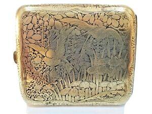 ANTIQUE / JAPANESE KOMAI STYLE DAMASCENE, GOLD CIGARETTE CASE / 3 1/2 x 3 26/2