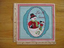 Christmas Let It Snow Snowman Stocking Candycane Cotton Quilt Fabric Block
