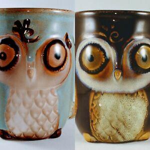 Owl Coffee Cup Gibson Home Stoneware Mug Beautiful Colors x2