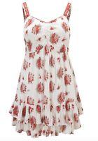 BNWT JOE BROWNS cream red floral print smock tunic mini dress size 16 euro 44