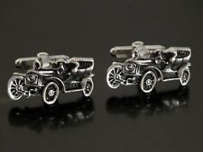 Vtg Ford Model T Antique Car Silver Tone Cufflinks Cuff Links