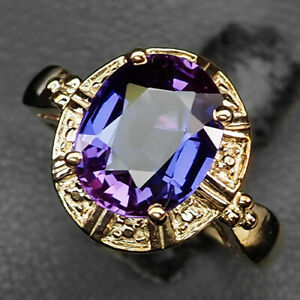 Sapphire Blue Purple Oval 4.3Ct. 925 Sterling Silver Rose Gold Ring Size 6.75