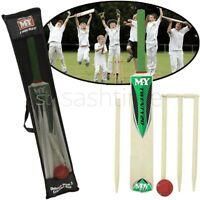 Junior Cricket Wooden Set Kids Size 3 Wickets Bat Ball Stumps Outdoor Garden Toy