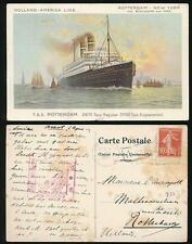 FRANCE WW1 SHIP ROTTERDAM PPC + USA MILITARY CENSOR