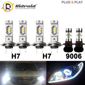 6x Hi/Lo Beam LED Headlights H7 + 9006 Fog Light For VW Jetta 05-09 Passat 06-10