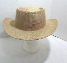 Pale Pink Straw Western Style Brimmed Bucket Hat Sewn Braid Summer Beach Farming