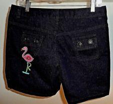 Lands End 100% Cotton Navy Blue Girls Embellished Shorts Size 14+ NWT