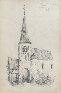 Hautes-Pyrénées Church Canton de Luz Argeles Drawing Graphite 1895 France