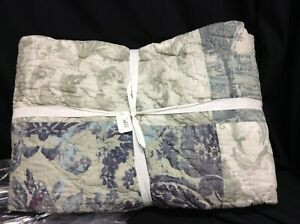 Pottery Barn Gray Kali Handcrafted Patchwork Cotton Bed Quilt cover blanket F/Q