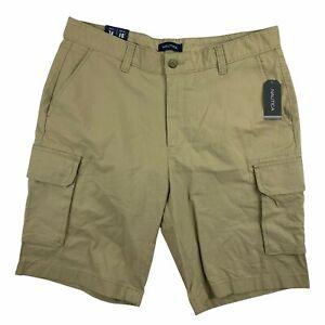 "Nautica Mens 10"" Stretch Ripstop Classic Fit Cargo Shorts Khaki 34"