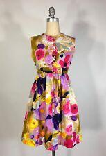 Vintage 1960's ALICE OF CALIFORNIA bold floral cotton empire waist mini dress