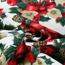 Tessuto al Metro Natale Cotone a Fantasia Natalizia Pigne Fiocchi Rosso h.280 cm