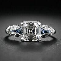 Art Deco Engagement Wedding Ring Sapphire 2 Ct Asscher Diamond 14k White Gold Fn