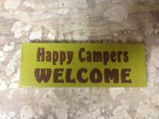 NEW Happy Campers Welcome Wooden Block Sign-lake-cabin-man cave