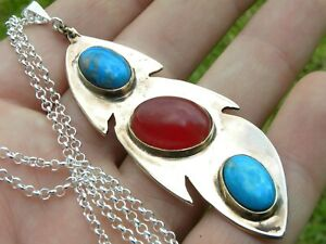 Necklace pendant handcrafted large feather pendant coral turquoise gem stone