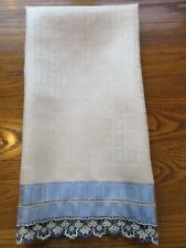 VINTAGE IVORY-BLUE DAMASK LINEN HAND GUEST TOWEL w TATTING & PULLED THREAD WORK