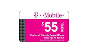 T-Mobile  Prepaid $55 Refill Top-Up Prepaid Card , AIR TIME  PIN / RECHARGE