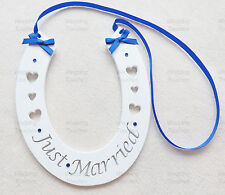 Just Married Wedding Handmade Wood Horseshoe Hanging with Royal Blue Decoration