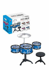 CHILDREN BOYS BLUE  3 DRUM PLAY SET KIT MUSICAL Jazz TOY DRUM WITH STOOL&STICKs