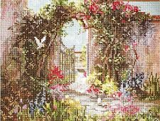 """Marty Bell's """"Sweetheart's Gate"""" Janlynn Flower Gardens Counted Cross Stitch Kit"""
