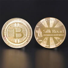 1 Pc Gold Plated Silk Road Bitcoin Coin BTC Collectible Gift Art Collection HF