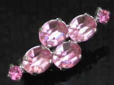 PRETTY 80'S OVAL AND ROUND BABY PINK CLAW SET DIAMANTE BROOCH