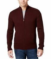 Alfani Mens Sweater Wine Red Size Small S Full Zip Ribbed Knit Cardigan $75 179