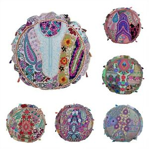 Handmade Vintage Patchwork Round Indian Boho Ethnic Floor Cushion Cover 80cm (D)