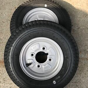 2x 4.80/4.00-8 4Ply trailer tyres Wheels 4 Stud 4inch PCD 67mm Centre x2