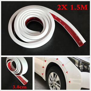 White 2Pcs 1.5m Car Wheel Trim Rubber Fender Moulding Flares Protection Strip