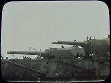 Glass Magic Lantern Slide GUNS OF HMS AJAX C1910 PHOTO ROYAL NAVY BATTLESHIP