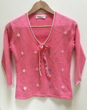 JOHNSTONS Pink Argyle Cashmere 3/4 Sleeve V Neck Sweater Sz 34 / Small