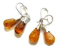 GENUINE BALTIC AMBER EARRINGS WITH STERLING SILVER 925