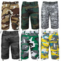 Men's Camo Cargo Military Army Multi Pocket Shorts With Belt