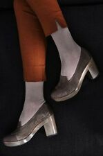 NEW COCLICO SHOES SIYAH CLOGS PLATFORM LOAFER PUMP HEELS NIB 39 $425 GRAY