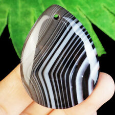 40x32x6mm schwarz weiß Streifen Onyx Agate Teardrop Pendant Bead h45678